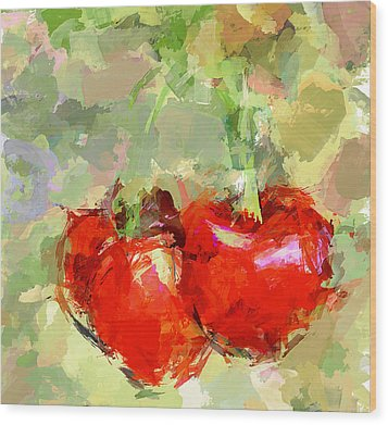 Cherries Abstract Wood Print by Yury Malkov