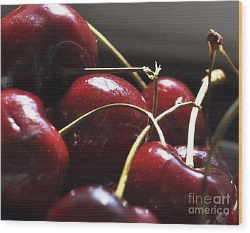 Cherries Close Up Wood Print