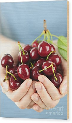 Cherries Wood Print by Elena Elisseeva