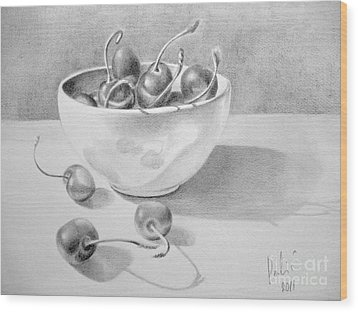 Cherries In White Bowl Wood Print