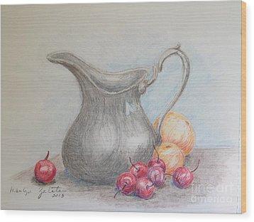 Cherries Still Life Wood Print by Marilyn Zalatan
