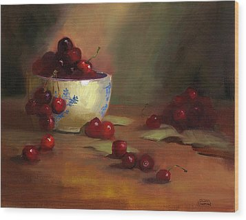 Wood Print featuring the painting Cherries by Susan Thomas