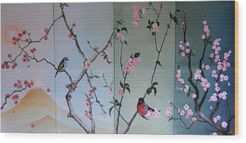 Cherry At The Foot Of Mount Fuji Wood Print