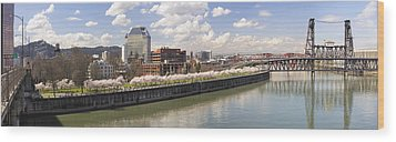 Cherry Blossom Along Portland Oregon Waterfront Panorama Wood Print by JPLDesigns