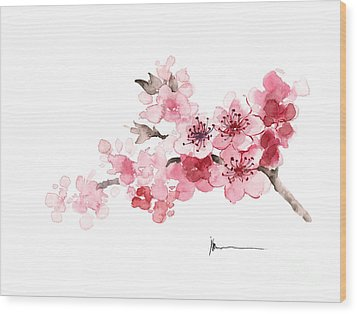 Cherry Blossom Branch Watercolor Art Print Painting Wood Print by Joanna Szmerdt