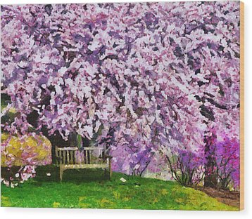 Wood Print featuring the painting Cherry Blossom by Georgi Dimitrov