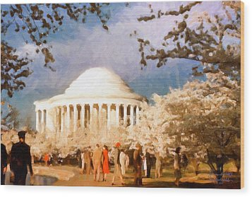 Cherry Blossom Jefferson Memorial 1950s Wood Print