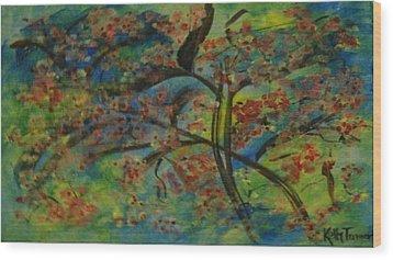 Cherry Blossom Wood Print by Kelly Turner