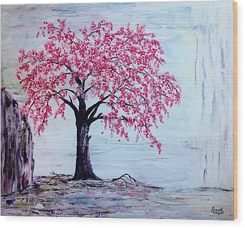 Wood Print featuring the painting Cherry Blossom  by Renate Voigt