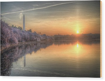 Wood Print featuring the photograph Cherry Blossom Sunrise by Michael Donahue