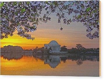 Cherry Blossom Sunrise Washington D.c. Wood Print