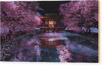 Cherry Blossom Tea House Wood Print