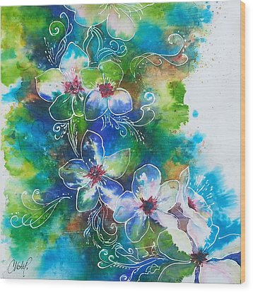 Wood Print featuring the painting Cherry Blossom Tree by Christy  Freeman