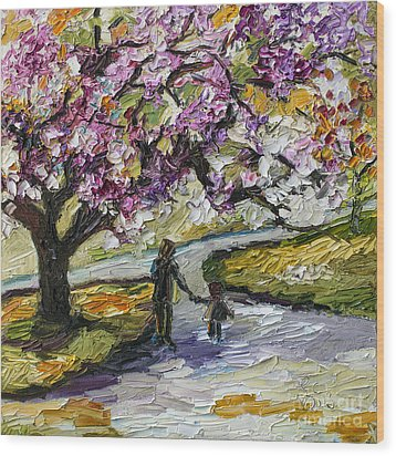 Cherry Blossom Tree Walk In The Park Wood Print by Ginette Callaway
