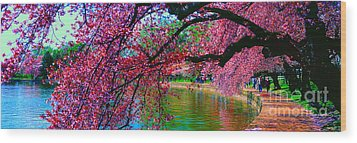 Wood Print featuring the photograph Cherry Blossom Walk Tidal Basin At 17th Street by Tom Jelen