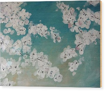 Cherry Blossoms Against Sky Wood Print by Lynne McQueen