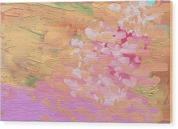 Cherry Blossoms By Pink River Wood Print by Naomi Jacobs