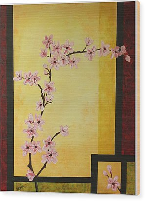 Cherry Blossoms Wood Print by Dawn Grice