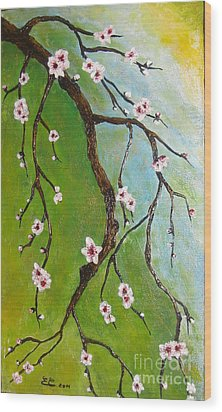 Cherry Blossoms Wood Print by Elena  Constantinescu