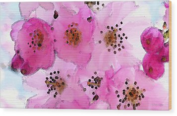 Cherry Blossoms - Flowers So Pink Wood Print by Sharon Cummings
