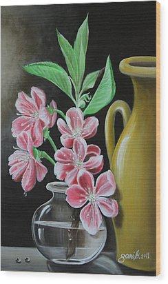 Cherry Blossoms Wood Print by Gani Banacia