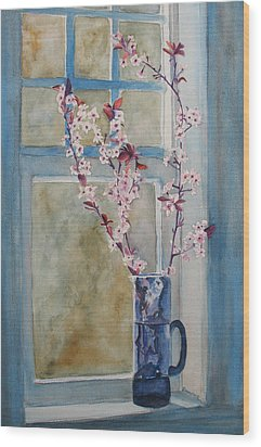 Cherry Blossoms In A Blue Pitcher Wood Print by Jenny Armitage
