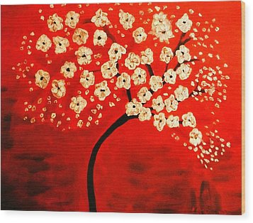 Cherry Blossoms Wood Print by Shelia Gallaher Chancey