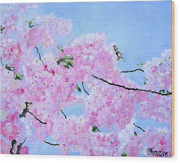 Cherry Blossoms Wood Print by Melissa Torres