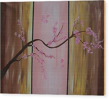 Cherry Blossoms Wood Print by Monica Art-Shack