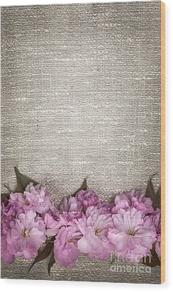 Cherry Blossoms On Linen  Wood Print by Elena Elisseeva