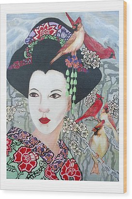 Wood Print featuring the painting Cherry Blossoms by Suzanne Silvir