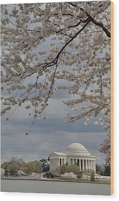 Cherry Blossoms With Jefferson Memorial - Washington Dc - 011313 Wood Print by DC Photographer