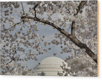 Cherry Blossoms With Jefferson Memorial - Washington Dc - 011331 Wood Print by DC Photographer