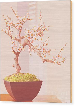 Cherry Bonsai Tree Wood Print by Marian Cates