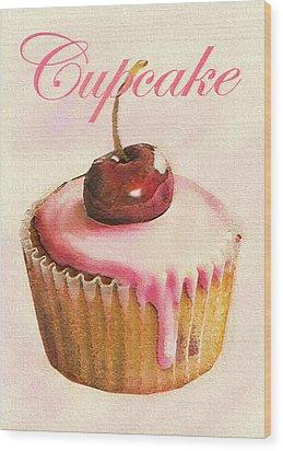 Cherry Cupcake Wood Print by Jane Schnetlage