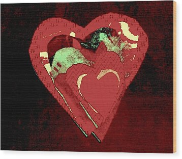 Cherry-hug Wood Print by Dorothy Rafferty