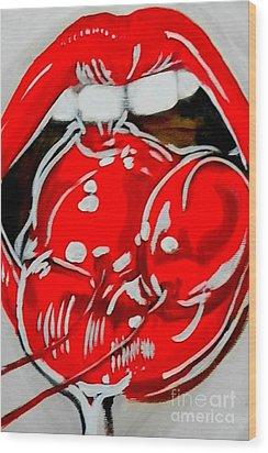 Cherry Lips Wood Print