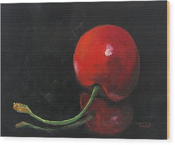 Cherry On Black Wood Print by Torrie Smiley