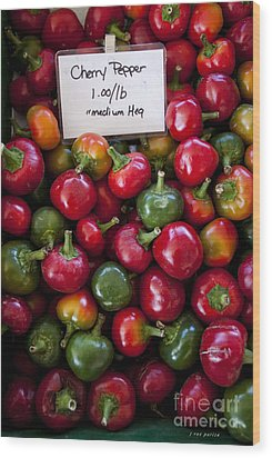 Cherry Peppers Wood Print by Janice Rae Pariza