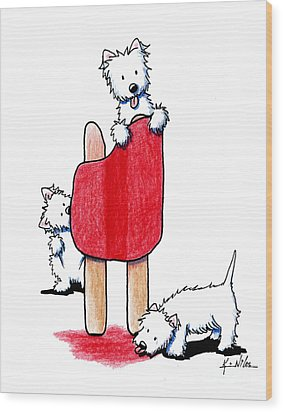 Cherry Pop Westies Wood Print by Kim Niles