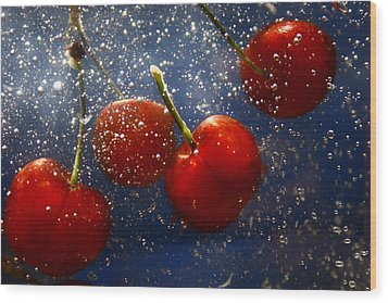 Wood Print featuring the photograph Cherry Splash by Paula Brown