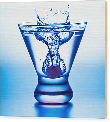 Wood Print featuring the photograph Cherry Splash With Blue Over-tones by John Hoey