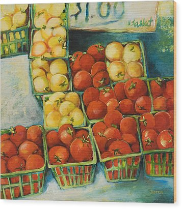 Cherry Tomatoes Wood Print by Jen Norton