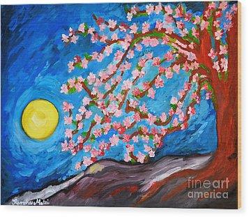 Cherry Tree In Blossom  Wood Print by Ramona Matei