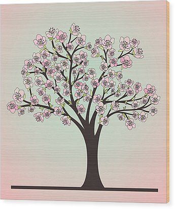 Cherry Tree With Blossoms Wood Print by Olivera Antic