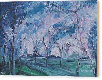 Cherry Trees Impressionism Wood Print by Eric  Schiabor
