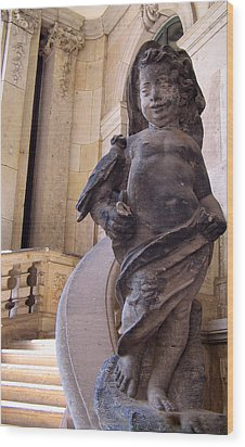 Wood Print featuring the photograph Cherub At The Entrance Of Zwinger Palace - Dresden Germany by Jordan Blackstone