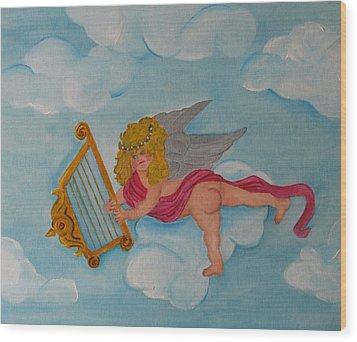 Wood Print featuring the photograph Cherub In The Clouds by Margaret Newcomb