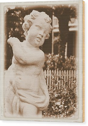 Wood Print featuring the photograph Cherub In The Garden by Nadalyn Larsen