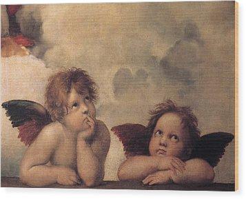 Cherubs On The Sistine Chapel Wood Print by Raphael